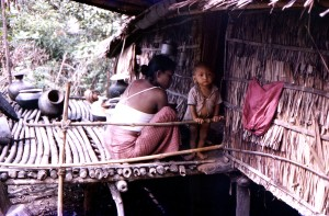 burmese, buddhist, woman, caring, child, Patuakhali, district, Marmas, village