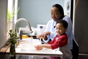 child, wash, hands, kitchen, sink