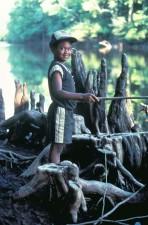 jeune garçon, pêche, sourire, visage