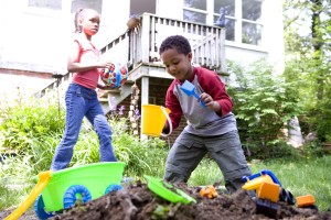 African American, boy, girl, play, garden