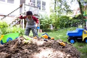 African American, boy, play, backyard