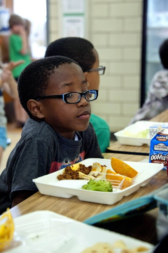 African American, boy, photographed, eating, healthy, meal