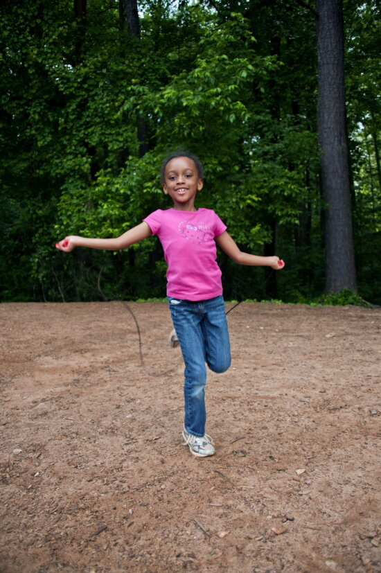 African American, school girl, play, backyard