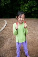 Asijská, americká, školy dívka, fotografováním, outdoor, hry