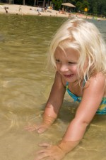 beautiful, young girl, wading, water