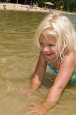 beautiful, young girl, wading, water