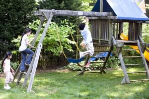 boy, girls, play, backyard