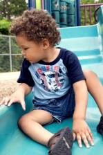 boy, sitting, slide, community, playground