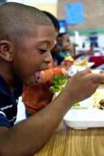 boy, bite, steamed, broccoli, enjoying food