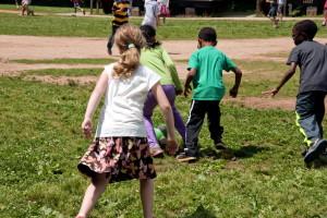 boys, girls, play, ball, grass