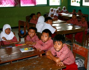 boys, girls, school, Karawang, Indonesia