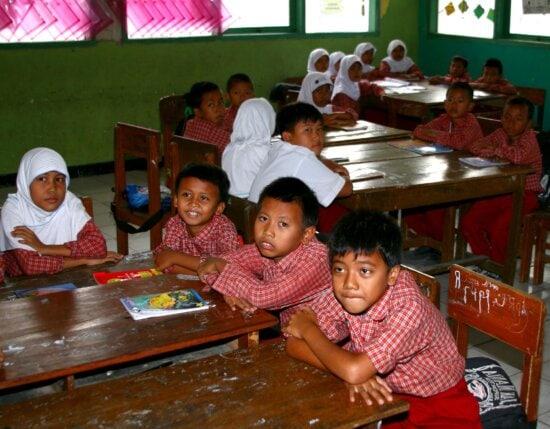 boys, girls, school, Karawang, Indonesia