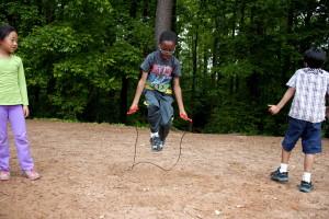 enfant, jeu, saut, corde