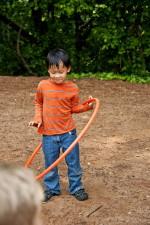 enfant, amusement, apprécier, rotation, hula hoop