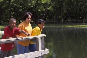 children, adult, fishing