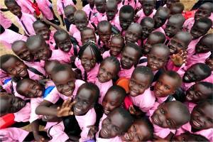children, crowd, faces