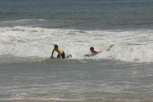 children, enjoy, riding, waves
