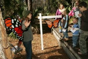 children enjoying, monarch butterfly, stop
