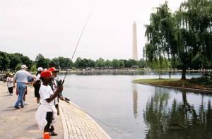 enfants, pêche, lac, aménagé, pêche, ville