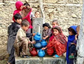 children, Nawa, village, Afghanistan, fill, containers, fresh, running, water