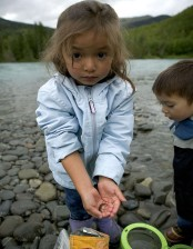 children, play, river, shore, boy, girl
