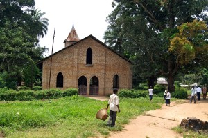 children, play, front, rural, Babtist, church