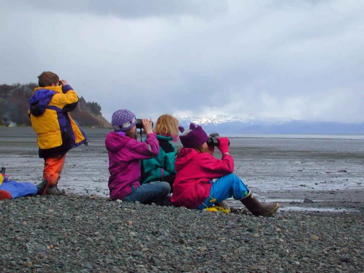 Kinder, sitzen, Strand, aufpassen, Horizont, Fernglas