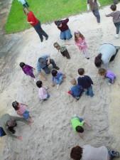 enfants, trésor, chasse, bac à sable