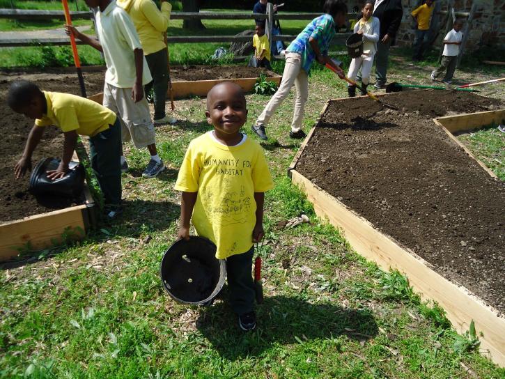 les enfants, les bénévoles, aider, plante, pollinisateur, jardin