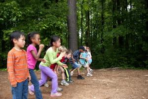 діти, берете участь, footrace