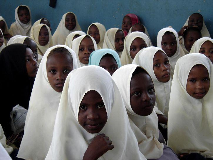 bliska, twarze, dziewczyny, klasie, Tanzania