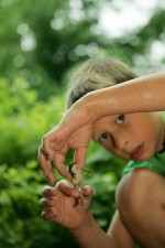 cute, child, boy, play, frog