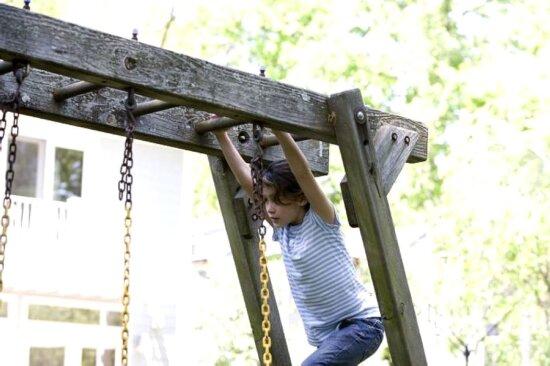 cute, girl, play, outside, backyard, swing, set