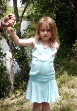 cute, little, girl, fishing