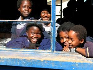 cute, students, smile, looking, window