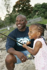 dad, daughter, fishing, young girl, learns, fish