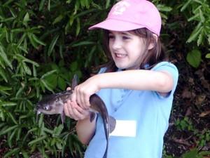 girl, enjoy, fishing, largemouth, bass, catfish