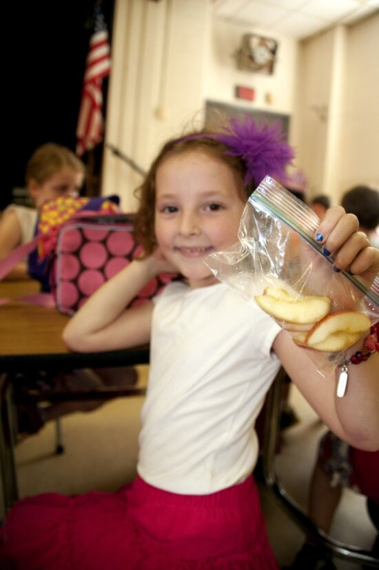 girl, holding, plastic, bag, hand, contained, apple, slices