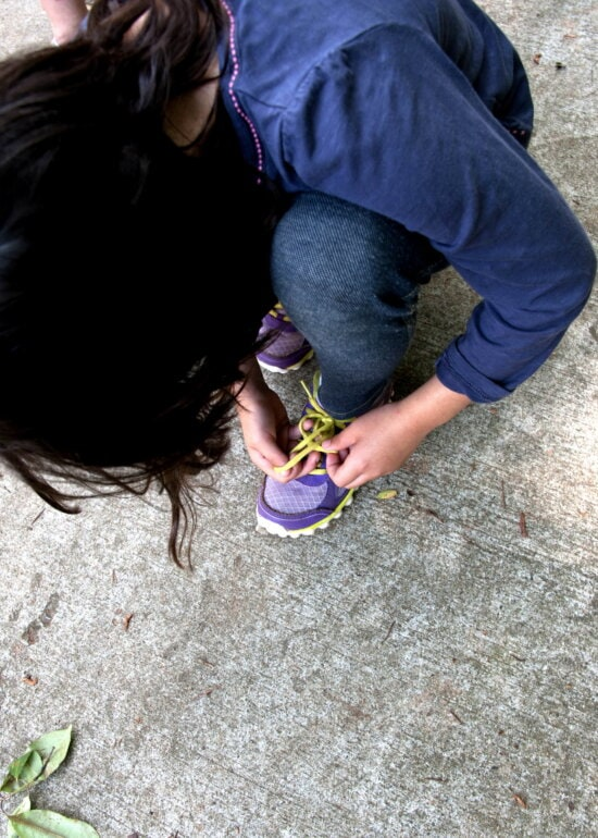girl, secure, yellow, laces, purple, colored, sneakers