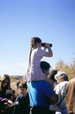 girl, sitting, backs, father, watching