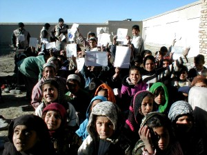 girls, boys, attend, outdoor, school, Afghanistan