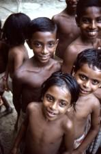 Skupina, děti, žijící, Sylet, district, Bangladéš