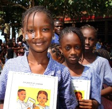 guinean, school girls, receive, language, arts, textbooks