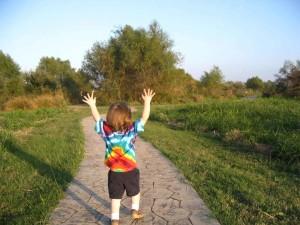szczęśliwy, dziecko, znajdzie, radość