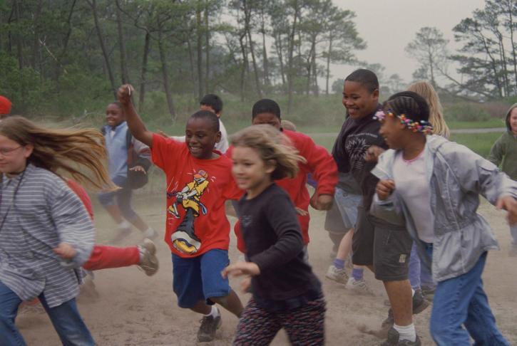 happy, group, children, play, race