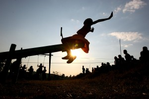 Swaziland, sunset, young girl, playground