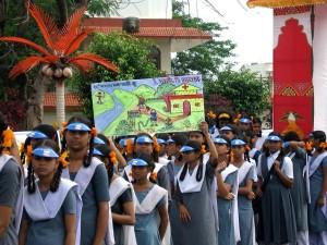 Indisk, jenter, kledd, skole, uniformer