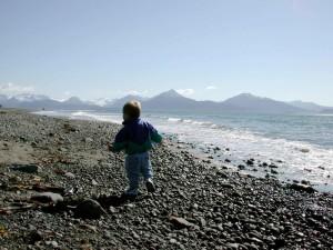 kid, running, beach
