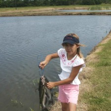 little, girl, holds, string, catfish