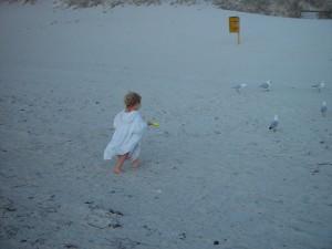 little, girl, beach